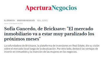 "Sofía Gancedo, Bricksave COO: ""The real estate market will be paralyzed in the coming months"""