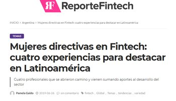 Sofia Gancedo was interviewed by Reporte Fintech as one of the few women directors of a Fintech company in Latin America