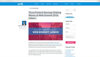 Three Fintech Startups Making Waves at Web Summit 2016, Lisbon