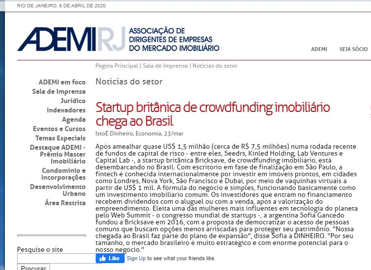 Newspaper article about Real Estate crowdfunding in Brazil