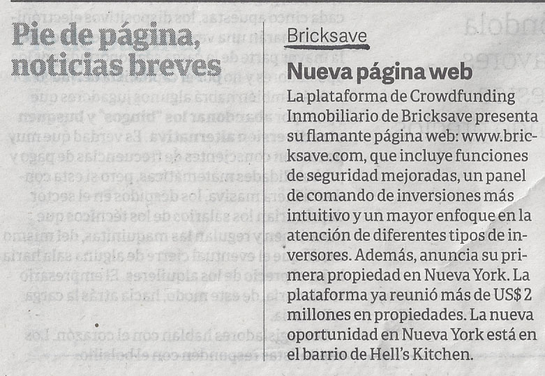 Bricksave featured in Clarin