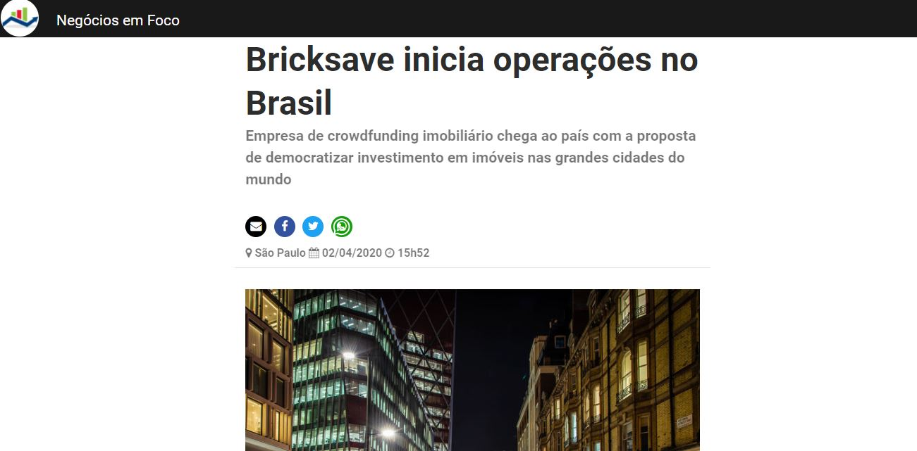 Blog about Bricksave launch in Brasil