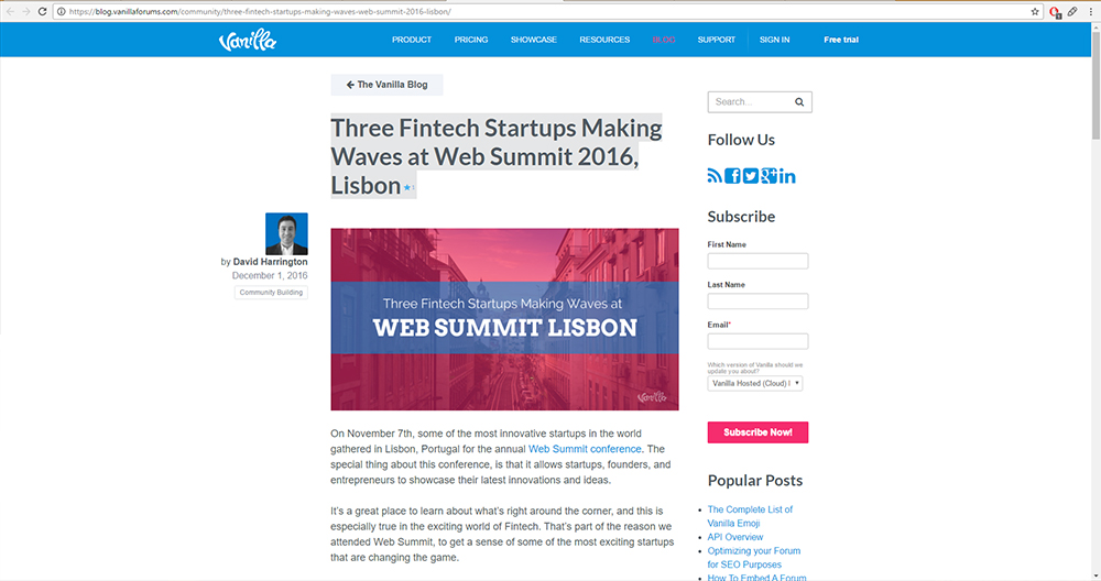 Three Fintech Startups Making Waves at Web Summit 2016, Lisbon. Article Screenshot