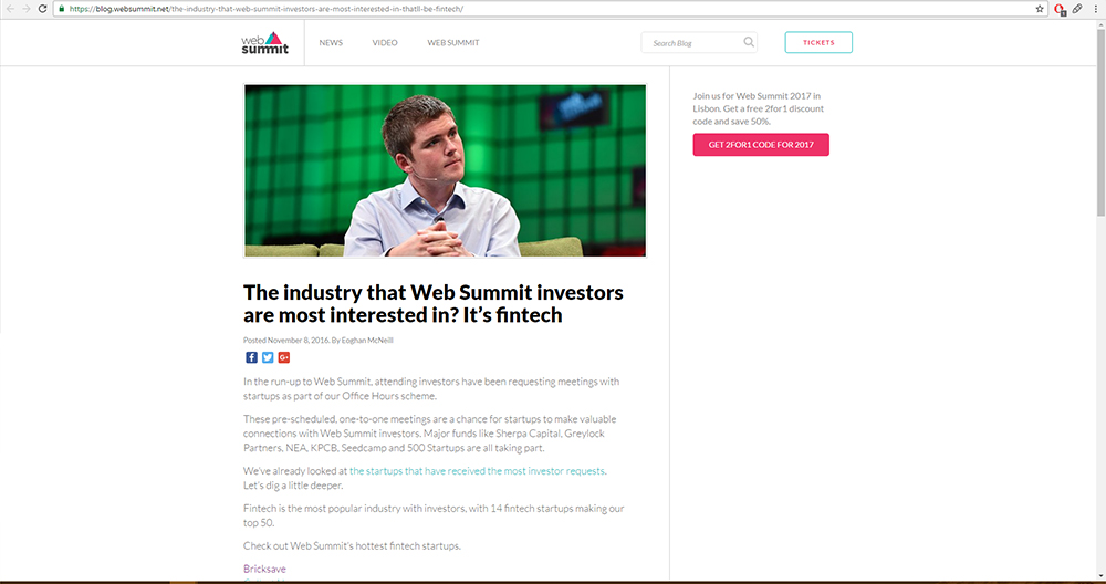 Web Summit article screenshot